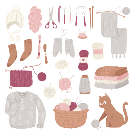 Knitting needles vector wool knitwear or knitted woolen sweater and kitten with woolly ball handknitting logotype set illustration isolated on white background Illustration