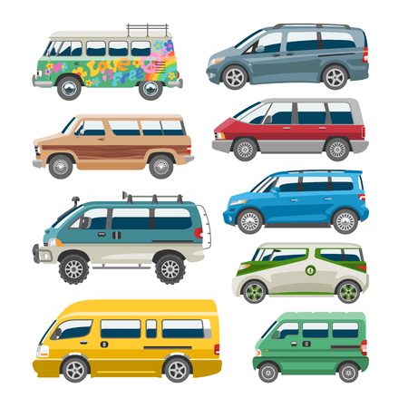 Minivan car vector van auto vehicle family minibus vehicle and automobile banner isolated citycar on white background illustration. Illustration