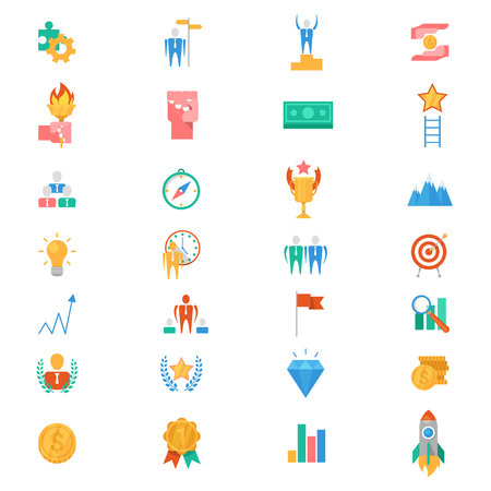 Motivation icons vector motivated business signs to inspire for achievement goals and success illustration of motivational set isolated on white background. Illustration