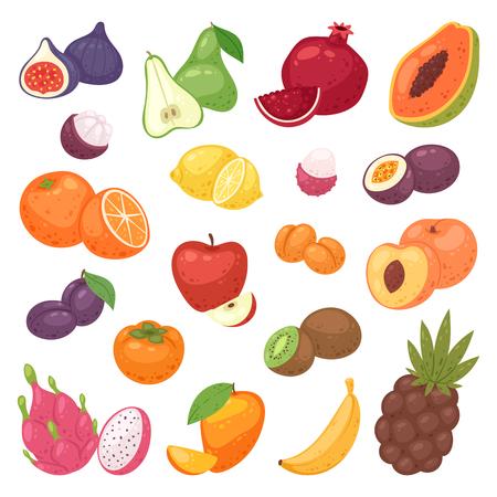 Fruits vector fruity apple banana and exotic papaya with fresh slices of tropical dragonfruit or juicy orange illustration fruitful set isolated on white background