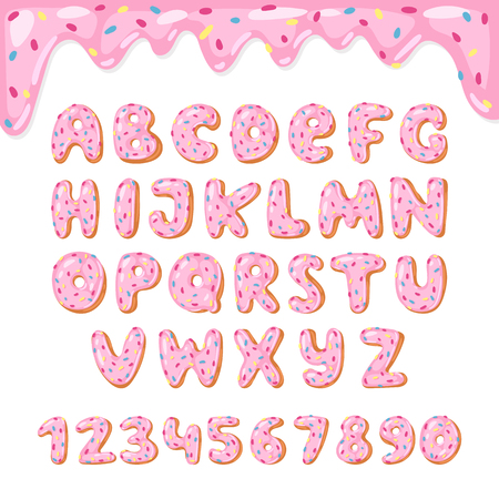 Alphabet donut vector kids alphabetical doughnuts font ABC with pink letters and glazed numbers with icing or sweet alphabetic typography for happy birthday illustration isolated on white background