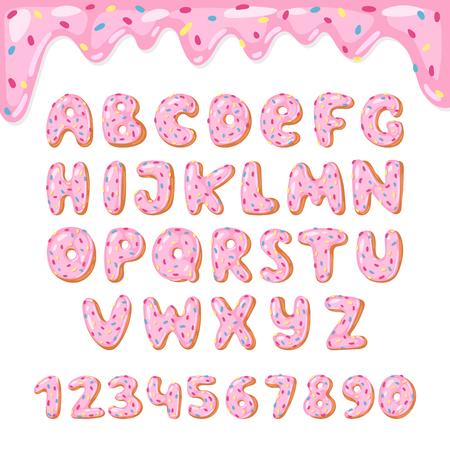 Ciambelle alfabeto vettoriale bambini ciambelle alfabetiche font ABC con lettere rosa e numeri smaltati con glassa o tipografia alfabetica dolce per buon compleanno illustrazione isolato su sfondo bianco