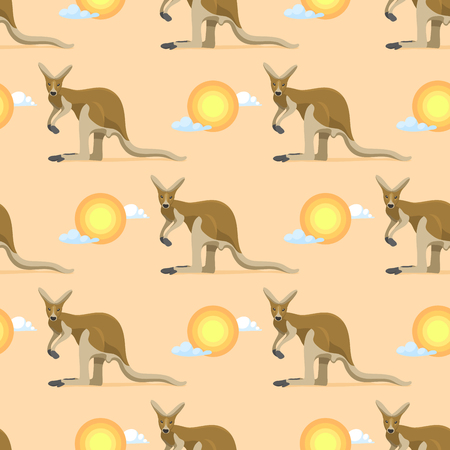 Australian animal kangaroo seamless pattern vector marsupial wallaby in Australia and textured animalistic background with sunrise on landscape or backdrop illustration wallpaper set