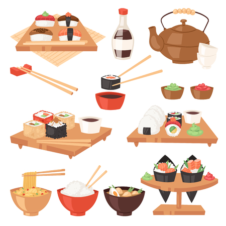 Japanese food vector eat sushi sashimi roll or nigiri and seafood with rice in Japan restaurant illustration Japanization cuisine with chopsticks set isolated on white background  イラスト・ベクター素材