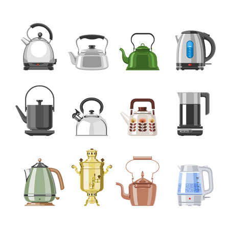 Teapot and kettle vector teakettle or samovar to drink tea on teatime and boiled coffee beverage in electric boiler in kitchen illustration kitchenware set isolated on white background Illustration