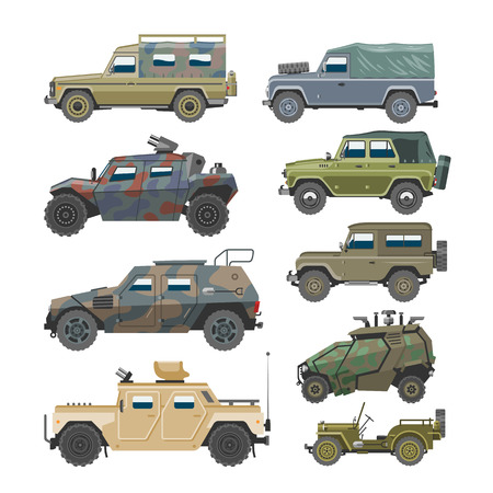 Military vehicle vector army car and armored truck or armed machine illustration set of war transportation isolated on white background Illustration