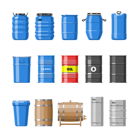 Barrel oil barrels with fuel and wine or beer barreled in wooden casks illustration alcohol barreling in containers or storage set isolated on white background.