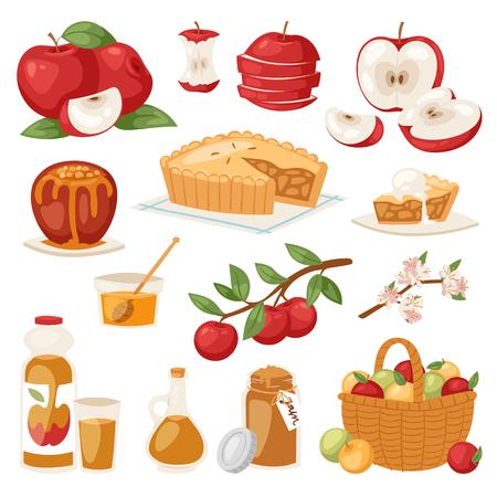 Gesunder Apfelkuchen des Apfelvektors mit Stau und Apfelsaft von den frischen Früchten im Garten mit Apfelbaumillustration des Satzes lokalisiert auf Hintergrund