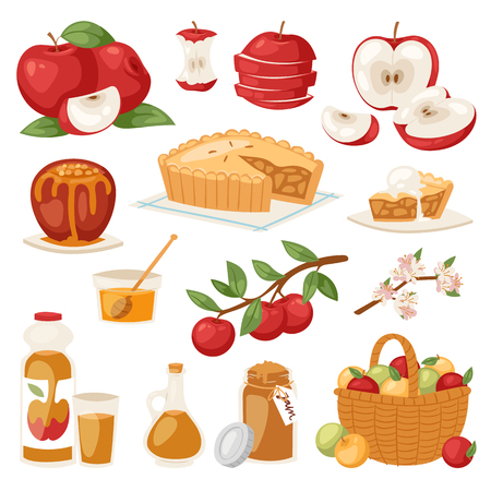 Apples vector healthy applepie with jam and applejuice from fresh fruits in garden with appletrees illustration of set isolated on background