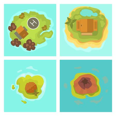 Cartoon tropical exotic island in ocean top view exotic lagoon map Illustration