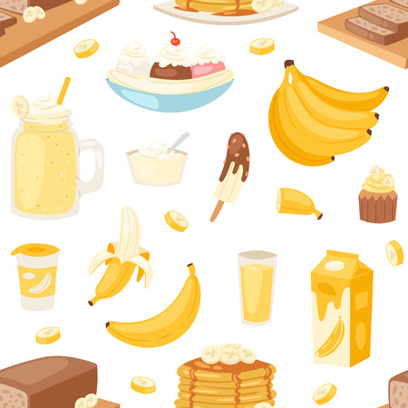 Banana set vector bananas products bread pancake or banana split with yellow cocktail and fruit in chocolate illustration bananapeel or skin seamless pattern background