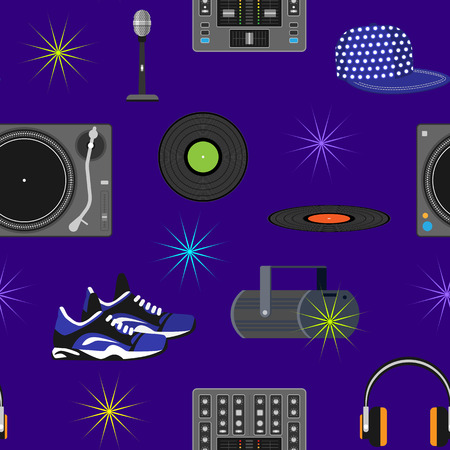DJ music vector discjockey playing disco on turntable sound record set with headphones and players audio equipment for playback vinyl discs in nightclub seamless pattern background