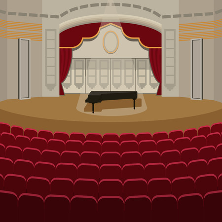 Theater stage with curtains entertainment spotlights theatrical scene interior performance background vector illustration.