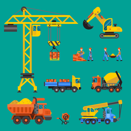Building under construction vector crane and workers buildings construction technic vector illustration. Mixer truck builders people. Under construction concept. Workers in helmet, machine isolated. Illustration