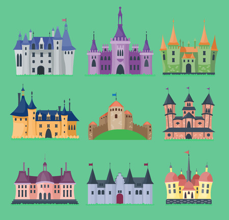 Cartoon fairy tale vector castle key-stone palace tower icon knight medieval architecture castle building illustration.