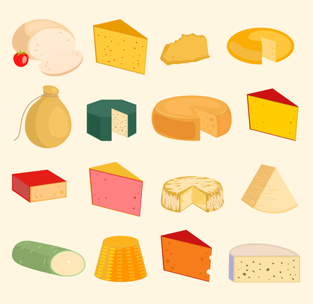 Vector cheese slices peace variety icons cartoon set isolated illustration. Dairy cheese varieties food and milk camembert. Different delicatessen gouda cheese mozzarella, tofu. parmesan. Ilustração