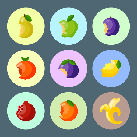 Bitten fruits vector Illustration