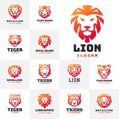Tiger and lions face logo badge strength predator power wildcat vector illustration. Illustration
