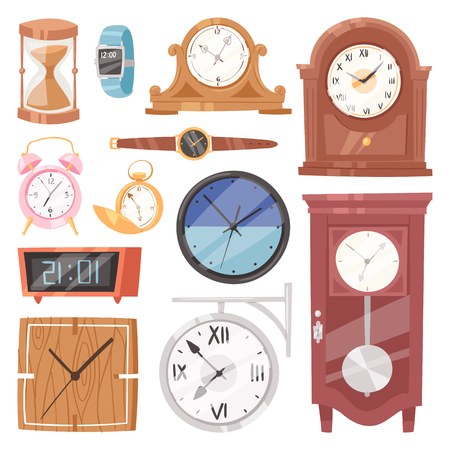 Clock vector  and watch with clockwork and clock face or wristwatches  isolated on plain background.