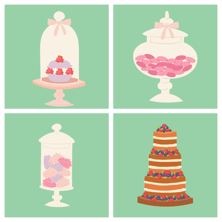 Wedding cakes fresh tasty dessert sweet pastry pie card gourmet homemade delicious cream traditional bakery tart vector illustration. Stock Illustratie