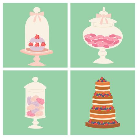 Wedding cakes fresh tasty dessert sweet pastry pie card gourmet homemade delicious cream traditional bakery tart vector illustration. Vettoriali