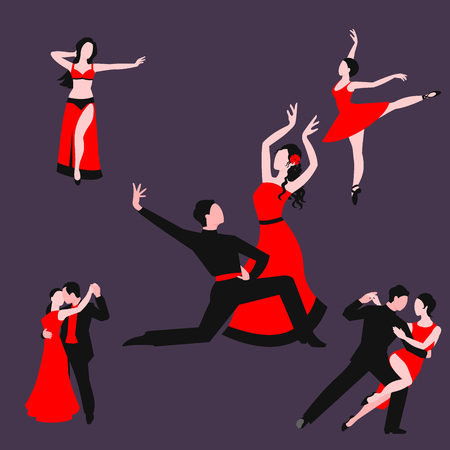 Couples dancing latin american romantic person and people dance man with woman ballroom entertainment together tango pose beauty vector illustration.