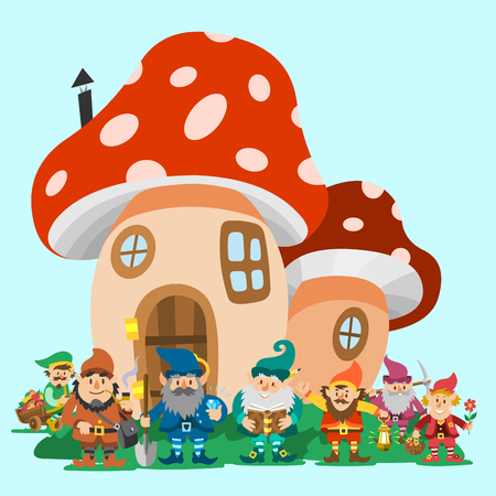 Fairy tale fantastic gnome dwarf elf character poses magical leprechaun cute fairy tale man vector illustration