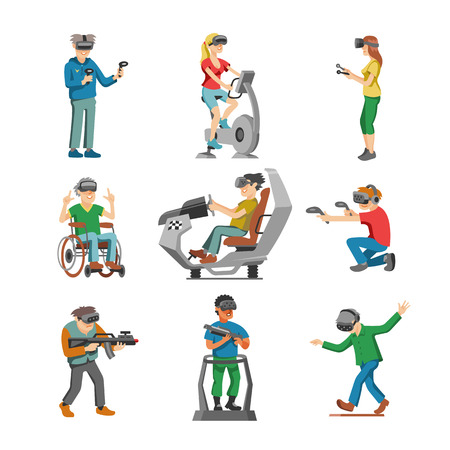 Virtual reality vector character gamer with vr glasses and person playing in virtuallization technology illustration set of people gaming in virtually game isolated on white background