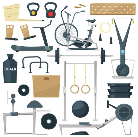 Fitness equipment, vector gym machine for doing sport exercises on workout training to build body with bodybuilding weights in sport club illustration set. Isolated on white background.