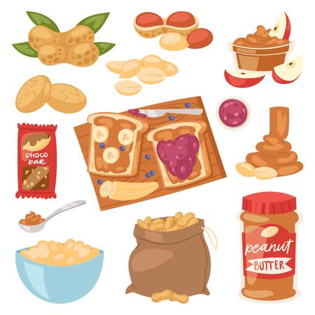 Vector de maní mantequilla de maní o pasta de maní en pan tostado. Conjunto de ilustración de crema de nuez nutritiva o cáscara de nuez, aislado sobre fondo blanco. Ilustración de vector
