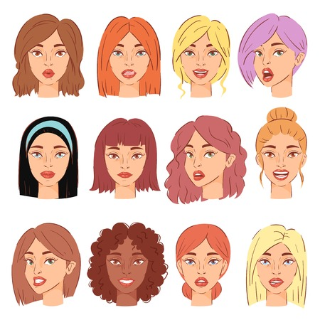 Woman portrait set, vector female character face of girl with hairstyle and cartoon person. Illustration set of beautiful facial features, isolated on white background.