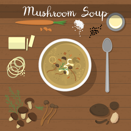 Mushroom soup vector food, vegetarian cream soup with champignon in bowl and soup spoon for dinner illustration. Mushrooming set, isolated on background.