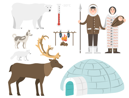 Alaska vector state symbols flat style america travel animal   outdoor wildlife north arctic concept illustration Vectores