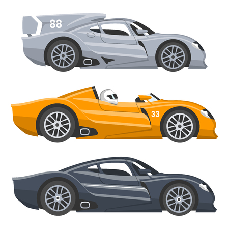 Sport race car vector speed automobile and offroad rally car colorful fast motor racing auto driver transport motorsport illustration. Championship extreme transportation Stok Fotoğraf - 96396035