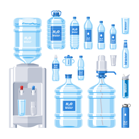Water bottle vector water drink liquid aqua bottled in plastic container illustration set of bottling water cooler isolated on white background Vectores