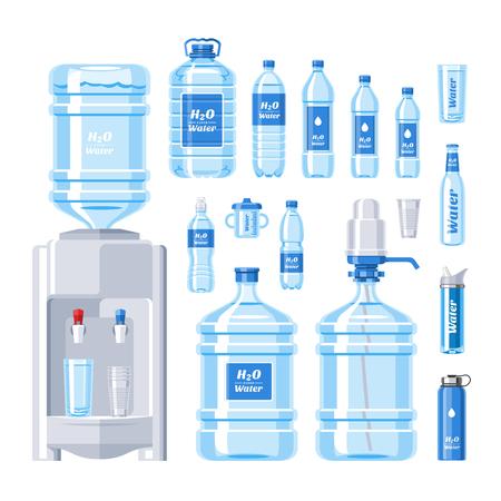 Flüssiges Aqua des Wasserflaschenvektorwasser-Getränks abgefüllt im Plastikbehälterillustrationssatz des abfüllenden Wasserkühlers lokalisiert auf weißem Hintergrund Vektorgrafik