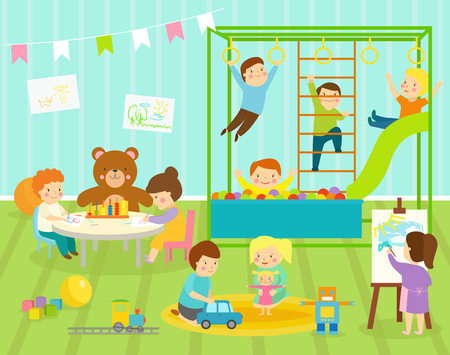 Boy kids vector kindergarten room with big slide swing with light furniture decor. Young baby kids playground toys robot, train,balls playroom apartment decorating Illustration