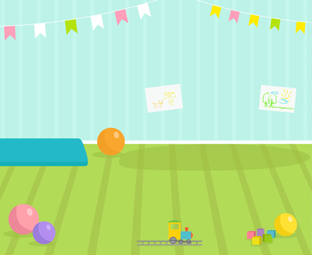 Baby room vector interior view babyroom decor children kindergarten interior illustration with furniture and toys. Nursery childhood interior boy or girl place