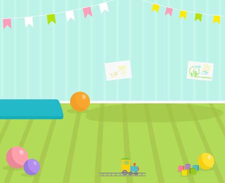 Vue de vecteur de chambre bébé décoration intérieure chambre d'enfants illustration d'intérieur de maternelle avec meubles et jouets. Pépinière enfance intérieur garçon ou fille place