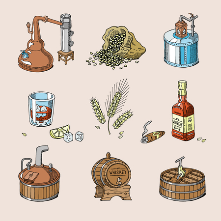 Whiskey vector alcohol beverage brandy in glass and drink scotch or bourbon in bottle illustration set of distillation isolated on background