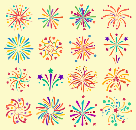 Vector firework icons celebration holiday event night new year fire festival explosion illustration. Light festive party fun birthday fire sparkle bright. Pyrotechnics rocket explode collection