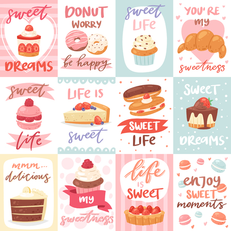 Sweets lettering vector confectionery cupcake sign and sweet confection chocolate dessert with caked candies template for typography illustration confected donut set isolated on white background 일러스트
