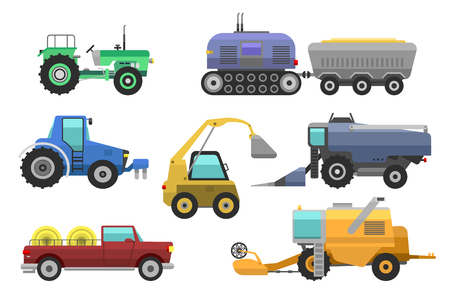 Agricultural vehicles harvester vector tractor machine, combines and excavators. Icon set agricultural harvester machine with accessories for plowing, mowing, planting and harvesting tractors