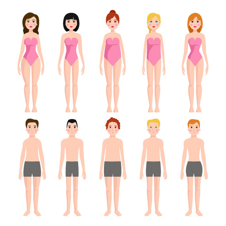 Vector illustration of different body shape types characters standing beauty figure cartoon model.