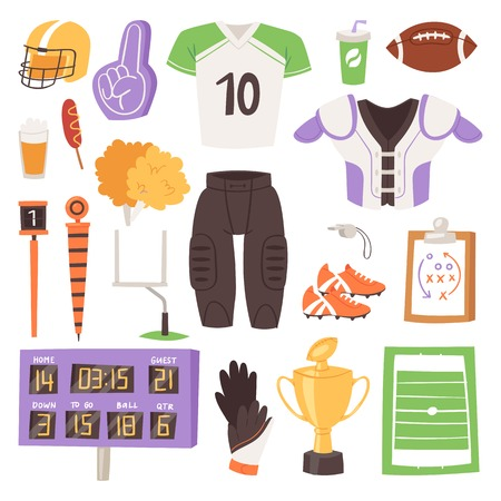 Rugby vector rugger sportswear and ball for competition on stadium illustration set of sportsman clothes in rugby league isolated on white background Illustration