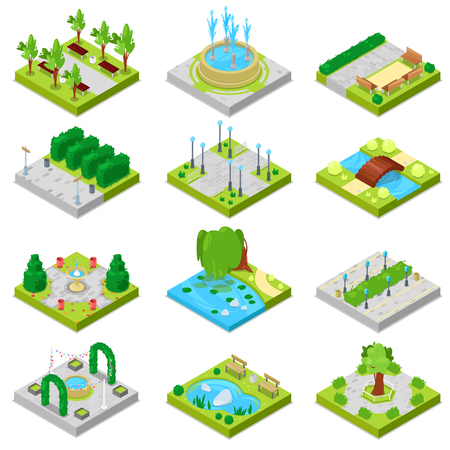 Park vector landscape of parkland with green garden trees and fountain or pond in city illustration set of isometric parkway in cityscape isolated on white background