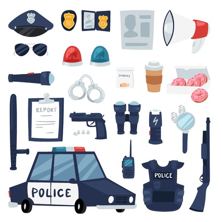 Police vector policy signs of policeman and police car illustration set of or police officers bulletproof vest and handcuffs in police office symbols isolated on background Illustration