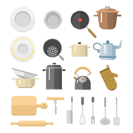 Kitchen dishes vector flat icons isolated household equipment everyday dishes furniture illustration. Illustration