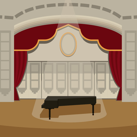 Theater stage with curtains entertainment spotlights theatrical scene interior old opera performance background vector illustration. Illustration
