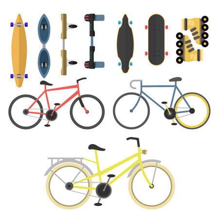 Active city transport eco alternative energy bike scooter one and two-wheeled mobility electro vehicle vector. 矢量图像